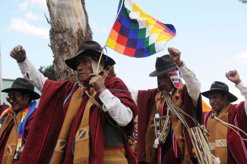 Erhobene Fäuste und die Fahne des indigenen Widerstands