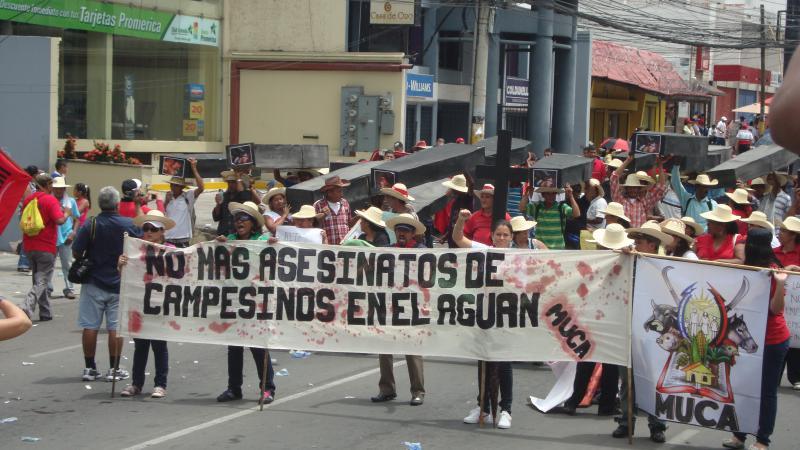 Die Kleinbauernorganisation MUCA forderte ein Ende des Blutvergießens in Bajo Aguán