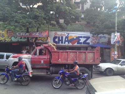 Wahlwerbung für Präsident Hugo Chávez in der Stadt
