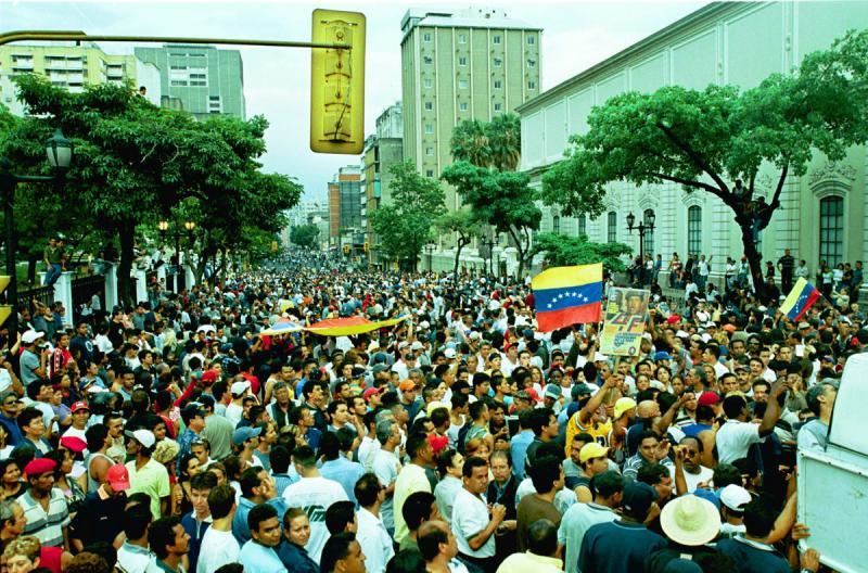 Blick in das Zentrum von Caracas in den Stunden nach dem Putsch