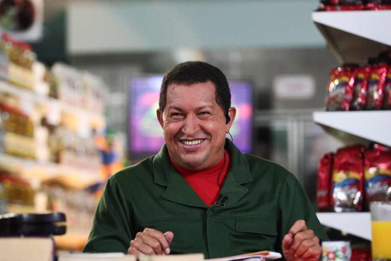 """Präsident Hugo Chávez bei einer seiner Fernsehsendungen """"Alò Presidente"""""""