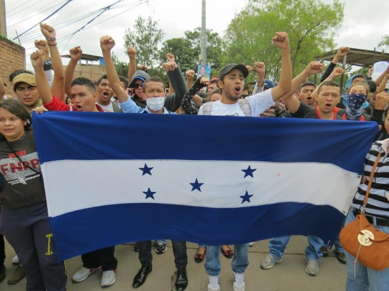 Demonstration nach Bekanntgabe des Wahlsieges von Juan Orlando Hernández
