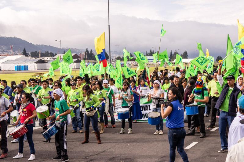 Die Delegation der revolutionären Jugend Alianza PAÍS (JRAP), der Jugendorganisation von Ecuadors Regierungspartei Alianza PAÍS,  die an der Organisation der Weltfestspiele beteiligt ist