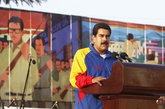 Venezuelas Präsident Nicolás Maduro spricht zu den Gästen