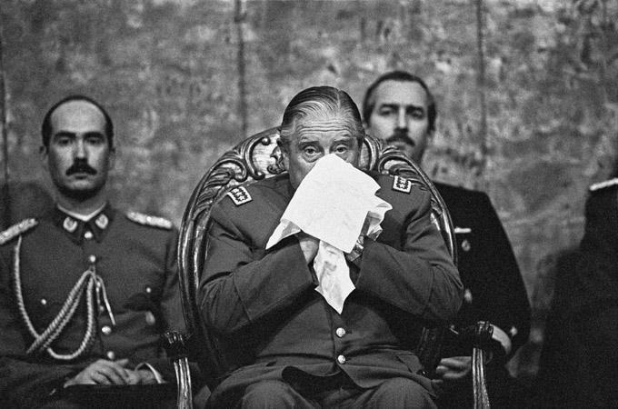 Augusto José Ramón Pinochet Ugarte, General und Diktator, im Gebäude Diego Portales in Santiago am 12.09.1988