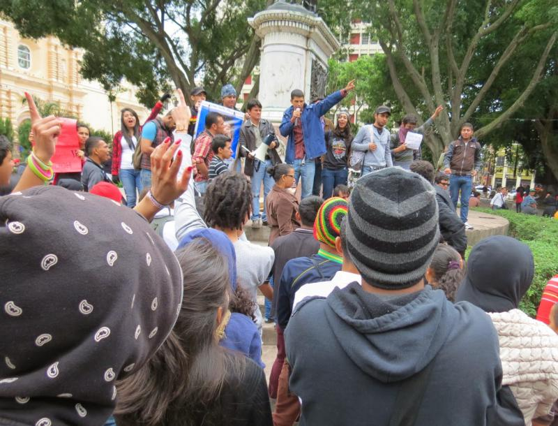 Bei der Kundgebung im Parque Central in Tegucigalpa