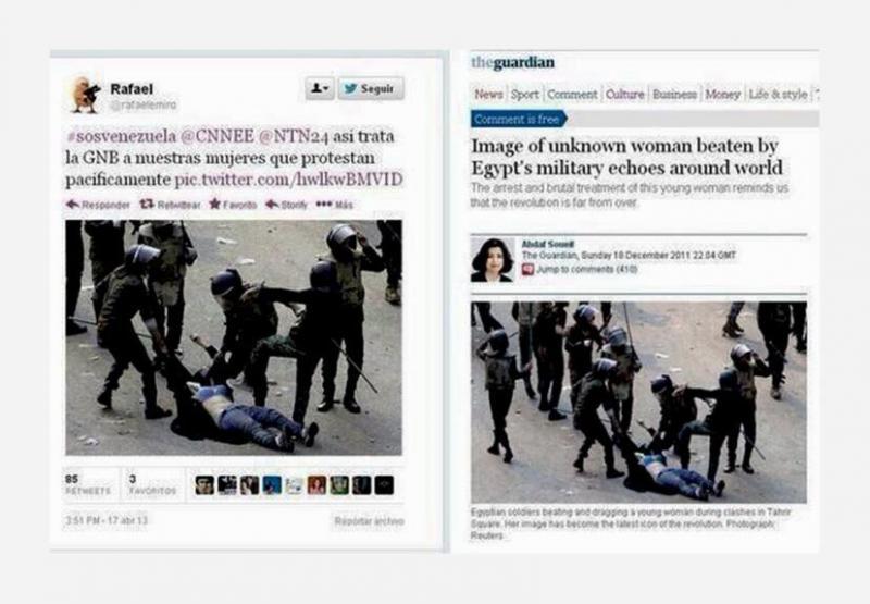 Die Brutalität der Polizei soll dieses Bild zeigen - und tut es auch. Allerdings handelt es sich um ein berüchtigtes Bild aus Ägypten und nicht aus Venezuela