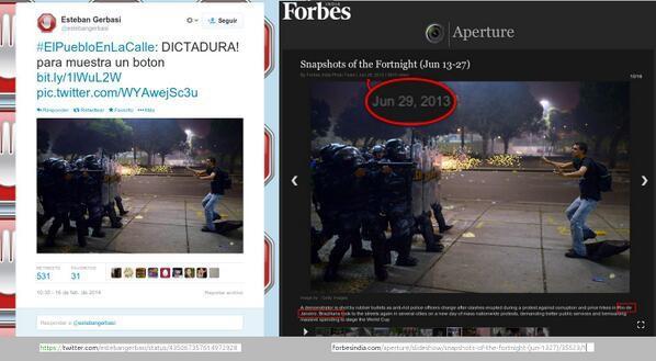 Einen klaren Beweis für eine Diktatur sieht ein Nutzer in diesem Bild - das allerdings im Juni 2013 in Brasilien aufgenommen wurde