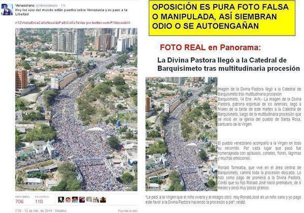 """""""Heute sind die Augen der Welt auf Venezuela und seinen Schritt zur Freiheit gerichtet"""", schreibt ein Nutzer am 12. Februar, dem Tag einer großen Demonstration von Studenten. Um das Ausmaß der Proteste zu untermauern, veröffentlicht er dazu ein Foto einer Großdemonstration - das in Wirklichkeit aber eine religiöse Prozession in der Stadt Barquisimeto zeigt"""