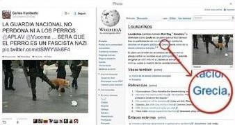 Auch ein griechischer Hund musste herhalten, um die Polizeigewalt zu verdeutlichen