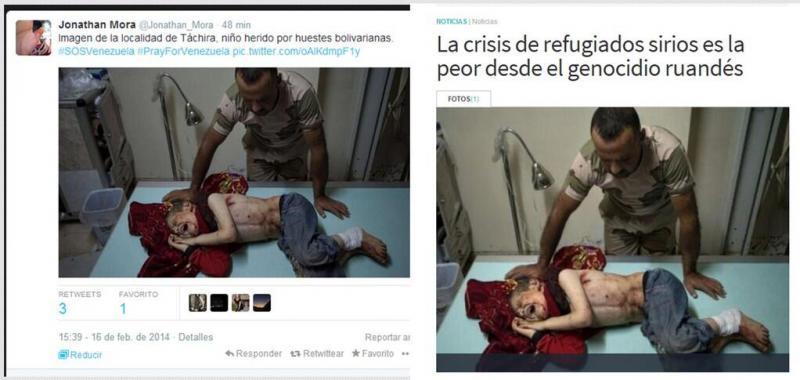 Dieses Kind wurde angeblich von Regierungsanhängern verletzt. Das Bild stammt aber anscheinend aus Syrien