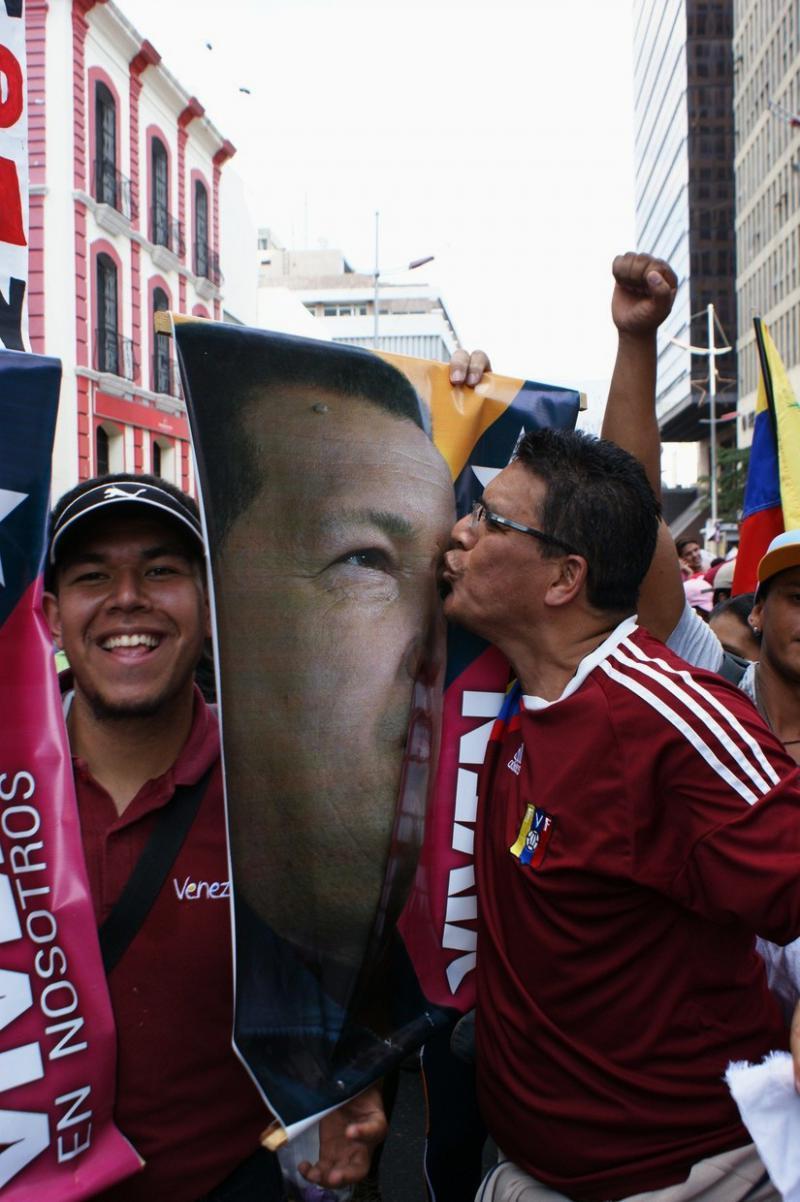 Der 2013 verstorbene Präsident Hugo Chávez ist immer präsent und bewegt die Menschen