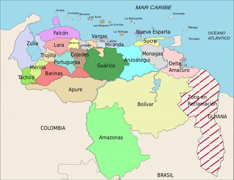 Venezuela und Guyana –das umstrittene Gebiet rechts ist in dieser Karte rot schraffiert
