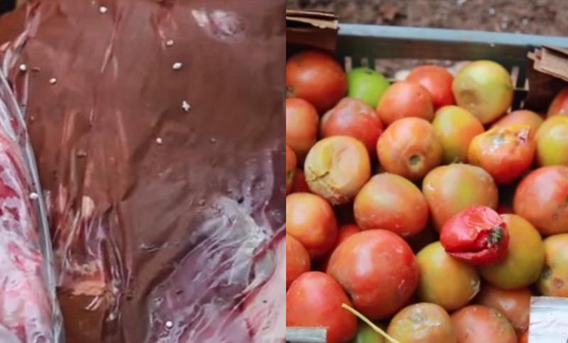 Verdorbene Lebensmittel, von den Streitkräften von Kolumbien geliefert