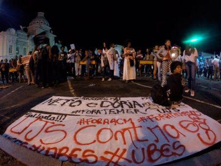 Protest gegen Privatisierung in São Paulo, Brasilien