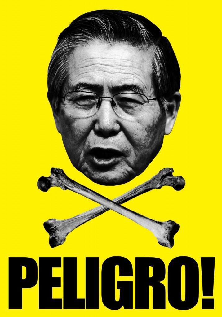 """""""Gefahr!"""" steht auf diesem peruanischen Plakat unter dem Konterfei Alberto Fujimoris"""
