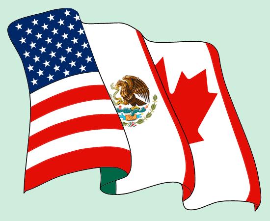 Die Flaggen der Mitgliedsstaaten von Nafta: USA, Mexiko, Kanada