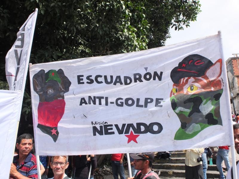 """Mit Hunden und anderen Haustieren kommen Vertreter der """"Anti-Putsch Einheit Nevado"""" zur Demonstration. Die Misión Nevado ist ein staatliches Tierschutz-Programm"""