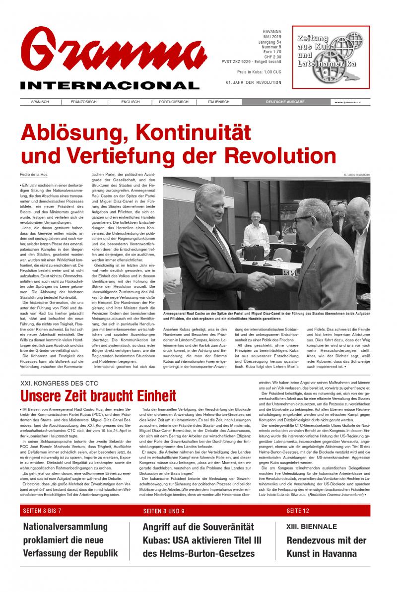 Titelseite der deutschsprachigen Granma vom Mai 2019