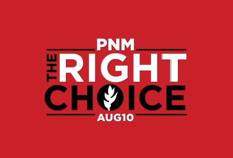 """Werbebanner des People's National Movement für die Abstimmung am 10. August: """"PNM ‒ Die richtige Wahl"""""""
