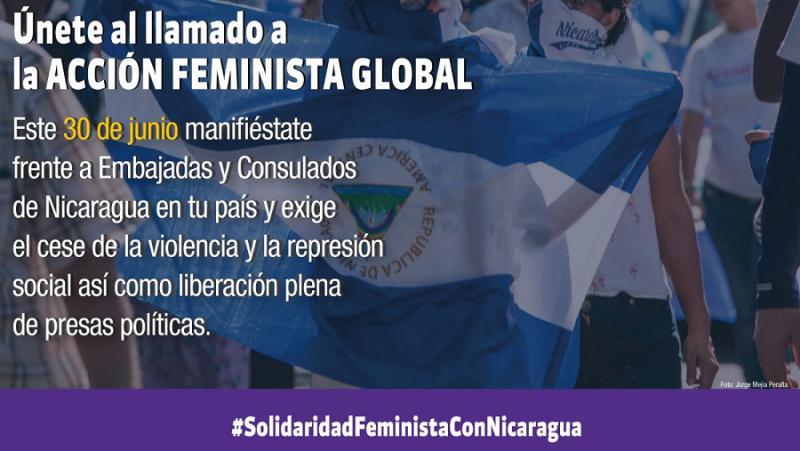 Aufruf zu internationaler feministischer Solidarität: Proteste gegen Nicaraguas Regierung vor den Botschaften weltweit