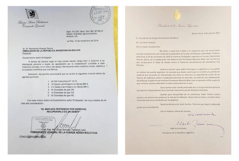 Schreiben von Terceros Lara (links), Brief von Präsident Fernández