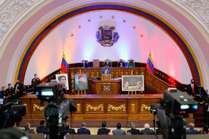 Präsident Maduro bei der Vorstellung seines Rechenschaftsberichts vor dem Parlament