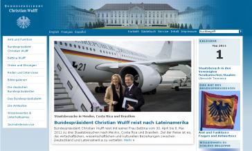 Ankündigung der Auslandsreise auf der Website des Bundespräsidenten