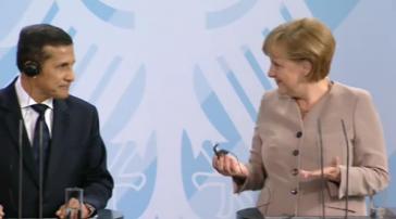 Ollanta Humala und Angela Merkel auf der gemeinsamen Pressekonferenz in Berlin
