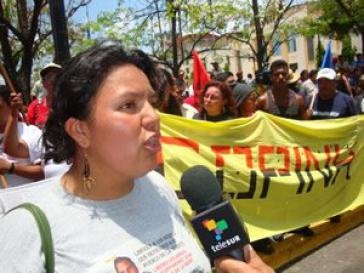 Bertha Cáceres auf einer Demonstration im September 2009