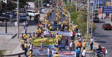 Demonstration der streikenden Minenarbeiter in Riohacha, Bundesstaat Cesar, Kolumbien
