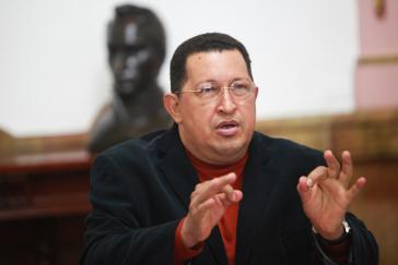 Hugo Chávez während des Treffens des Ministerrats am 20. Oktober 2012