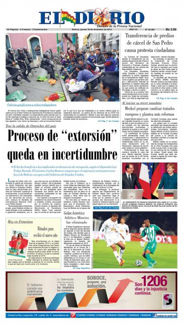"""Titelblatt von """"El Diario"""" mit Foto von attackierter Polizeisperre vor Bannmeile an der """"Plaza Murillo"""" in La Paz"""
