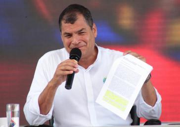 "Präsident Correa in der Sendung ""Enlace Ciudadano"" am vergangenen Samstag"