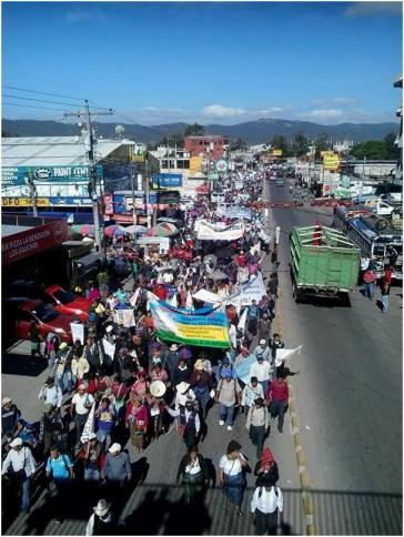 Hunderte protestieren in Huehuetenango friedlich gegen Korruption