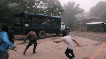 Während der Räumung durch die Polizei