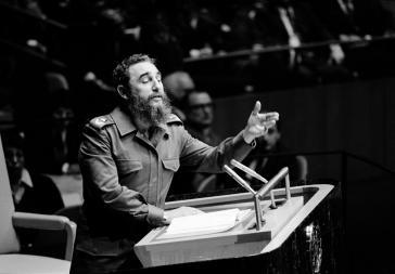 Fidel Castro bei seiner Rede vor der UN-Generalversammlung in New York am 12. Oktober 1979