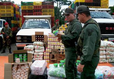Beschlagnhamte Schmuggelware an der Grenze zu Kolumbien