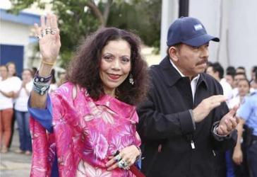 Daniel Ortega und Rosario Murillo bei der Abschlussveranstaltung der Wahlkampagne