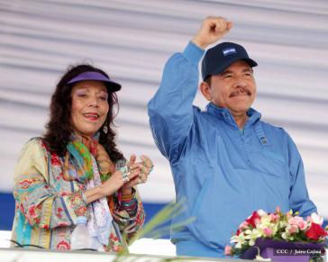 Gilt als Favorit: Präsident Daniel Ortega. Für die Vizepräsidentschaft kandidiert seine Ehefrau Rosario Murillo, FSLN-Mitgiled seit 1969