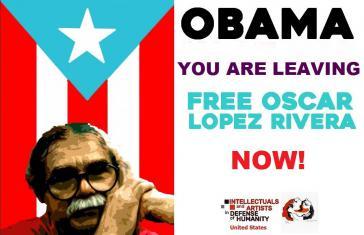 Kampagnenplakat für die Freilassung von Oscar Loṕez Rivera aus Puerto Rico