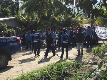Polizeieinsatz gegen das Protestcamp in der Gemeinde Pajuiles im nördlichen Department Atlántida, Honduras