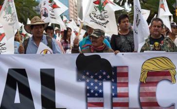 Demonstration in Mexiko-Stadt am Mittwoch zum Auftakt der Neuverhandlungen des Nordamerikanischen Freihandelsabkommens