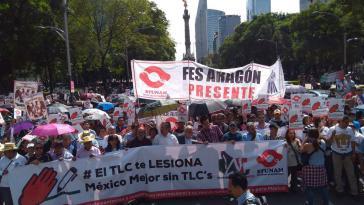 Demonstration von Bauern gegen Freihandelsabkommen in Mexiko-Stadt am 16. August