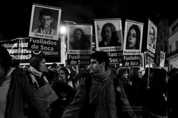 Schweigemarsch für die Verschwunden in Montevideo, Uruguay, am 16. Mai 2016. Angehörige der Diktaturopfer sind enttäuscht über die Freisprüche in Italien