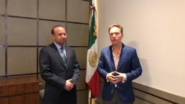 Navarrete und Velasco bei der Verkündung der Strategie für Mexikos Südgrenze