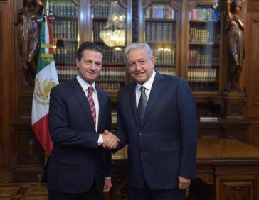 Die kommende Regierung des gewählten mexikanischen Präsidenten, López Obrador (rechts), zeigt sich mit dem Verhandlungsergebnis des amtierenden Präsidenten, Peña Nieto, zufrieden (hier bei einem Treffen Anfang August)