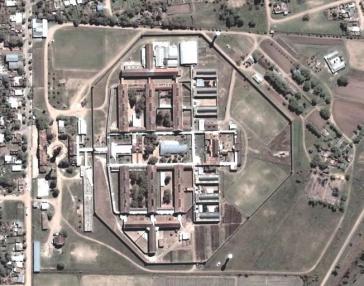 Luftaufnahme des Gefängnisses Coronda in der Provinz Santa Fe, Argentinien
