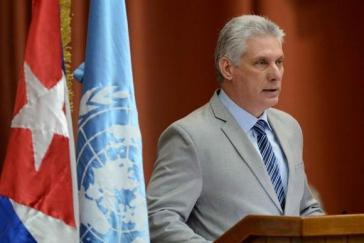 Kubas Präsident Miguel Díaz-Canel bei seiner Rede zur Übernahme der Cepal-Präsidentschaft in Havanna, Kuba