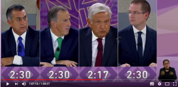 Die vier Präsidentschaftskandidaten in Mexiko bei der letzten TV-Debatte im Maya-Museum in Mérida auf der Halbinsel Yucatán in Mexiko (Screenshot)